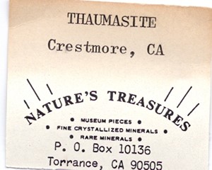 Thaumasite from Crestmore, Riverside Co., California, United States - FD10156